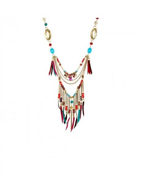 Collier Massaï Delhi Perles rouges, marrons, bleus, violettes
