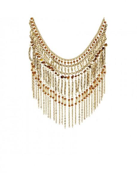 Plastron Massaï Bangalore Perles dorées ,marrons