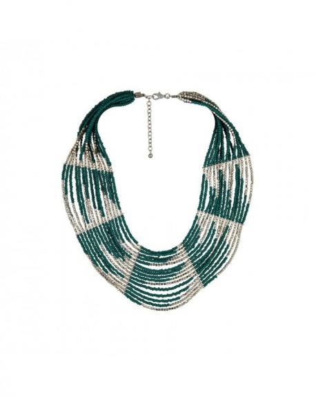 Plastron Massaï Etawah Plastron, perles vertes et argentées
