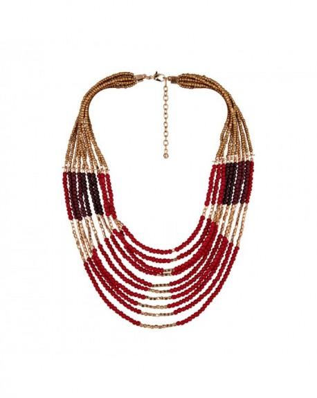 Plastron Massaï Pondichéry Plastron, perles rouges, dorées