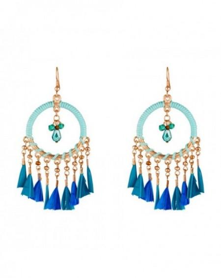 Boucles d'oreilles Massaï Toka Plumes bleus, Lacet turquoise