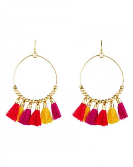 Boucles d'oreilles Massaï Laka Pompon rouge, orange, jaune