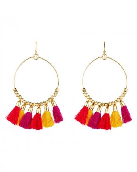 Boucles d'oreilles Massaï Laka Pompon rouge, orange, jaune
