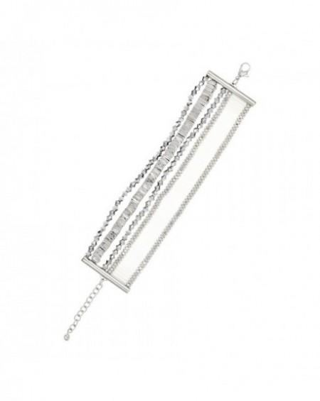 Bracelet Massaï Abena Multirang perles argentées