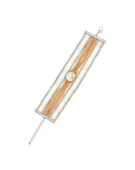Bracelet Massaï Adisa Multirang perles argentées, blanches, lacet beige, strass