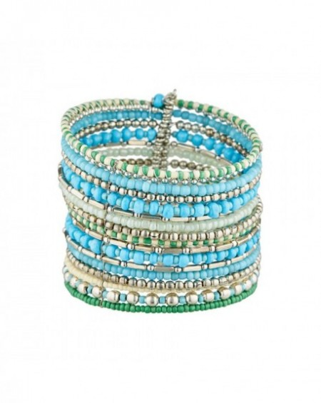 Manchette Massaï Ekua Perles turquoises, vertes, argentées