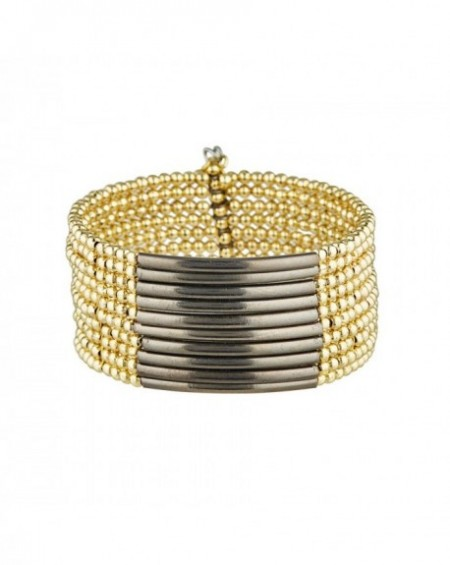 Manchette Massaï Calcutta Perles dorées et noires dorées