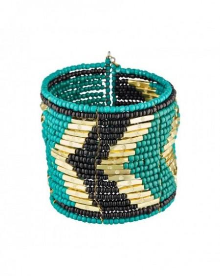 Manchette Massaï Agra Perles turquoises, dorées, noires