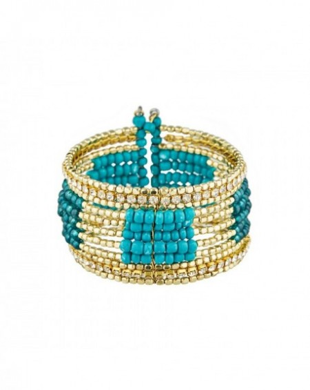 Manchette Massaï Raipur Perles turquoises, dorées, strass