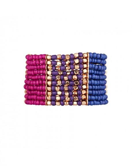 Manchette Massaï Sagar Perles violettes, indigo, fushia, cuivre