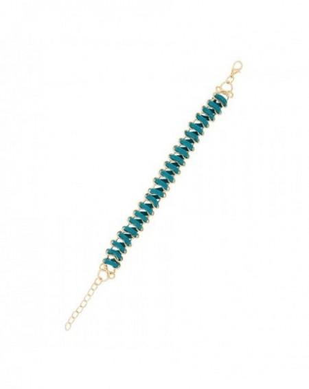Bracelet de cordon Massaï vêtu Lacet vert, doré