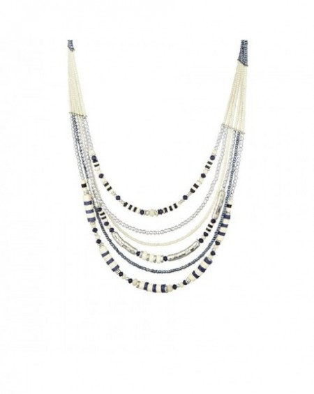 Plastron Massaï Kwasi Perles blanches, bleus, noires