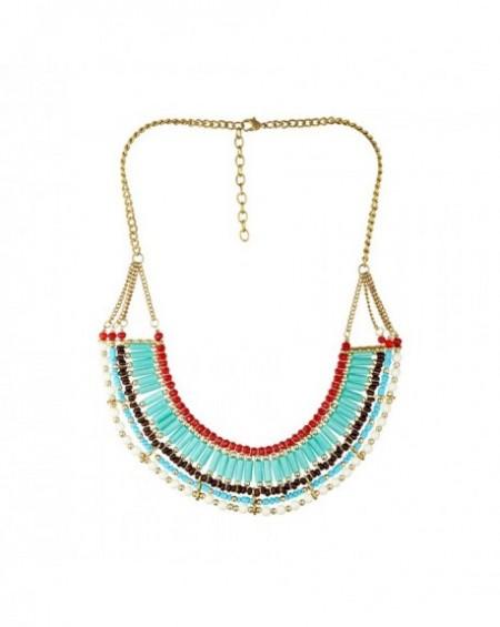 Plastron Massaï Eniola Perles bleus, rouges, marrons, blanches