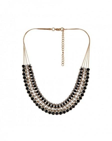 Plastron Massaï Nia Perles noires, grises, strass