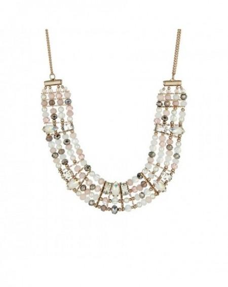 Plastron Massaï Asia Perles blanches, rose pastel, cuivres, strass