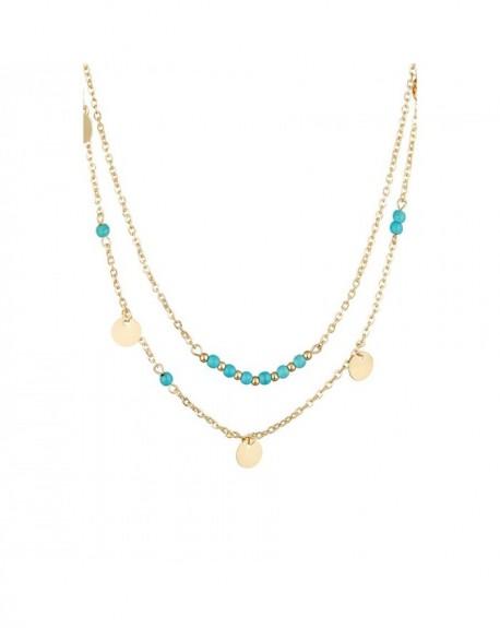 Collier Massaï Maillons perlés Perles bleus