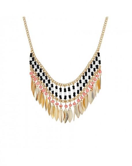 Collier Massaï Apache Perles noires, blanches, roses