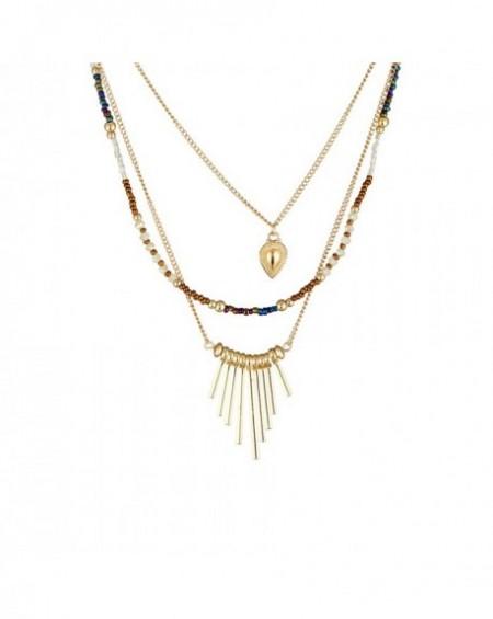 Collier Massaï Origine Ethnique Perles cuivres, blanches, dorées