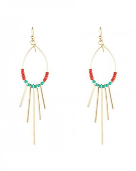 Boucles d'oreilles Massaï Bakoko Perles rouges, bleus