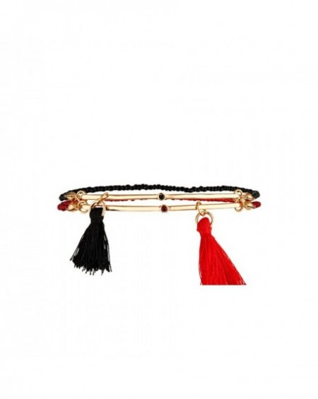Bracelet Massaï Sioux Pompons rouges et noirs, perles rouges et noires