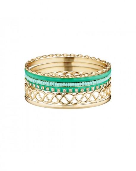 Manchette Massaï Saint Barth Bracelets séparables, doré, bleus, strass