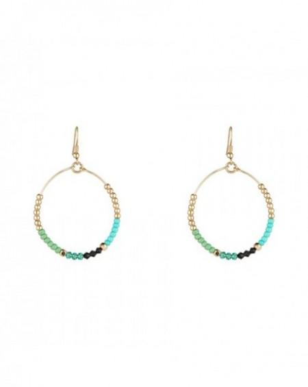 Boucles d'oreilles Massaï Bora-Bora Perles bleus, vertes, noires, dorées