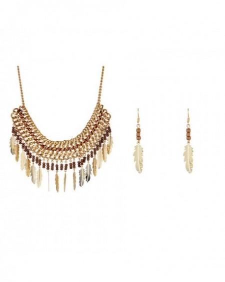 Parure Massaï Cherokees Dorée, perles marrons
