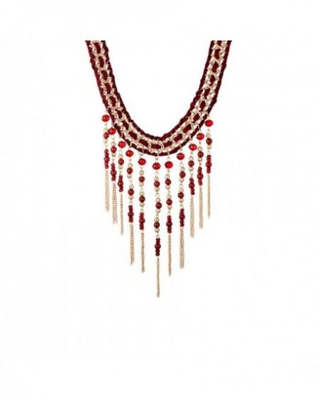 Plastron Massaï Bakwé Perles rouges, Lacet rouge