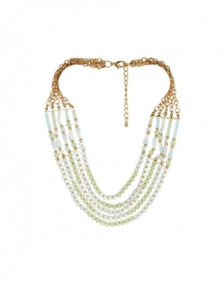 Plastron Massaï Tahiti Perles vertes, vertes pâles, blanches