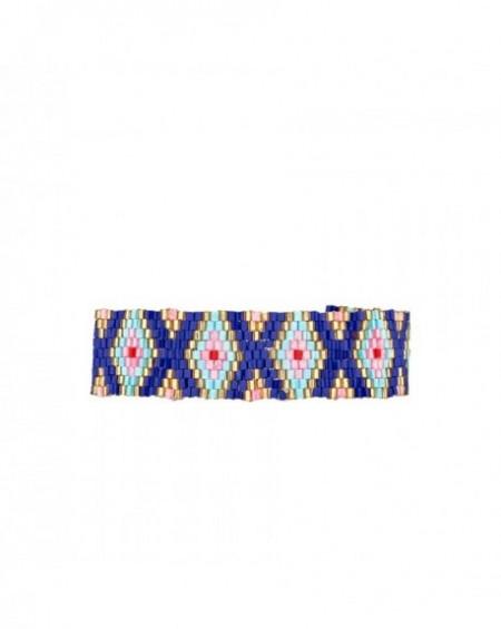 Mini manchette Massaï Ethnika Bleu Perles bleus, roses, dorées