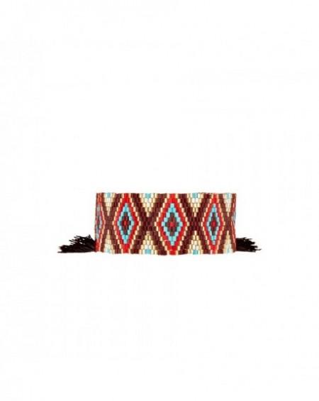 Mini manchette Massaï Ethnika Bleu Marron Perles rouges, bleus, dorées