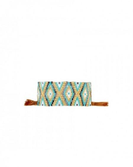 Mini manchette Massaï Ethnika Doré Perles dorées, bleus, noires