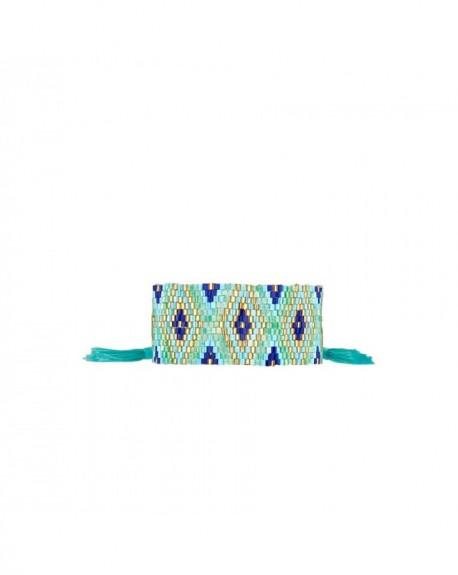 Mini manchette Massaï Ethnika Bleu Ciel Perles bleus, dorées