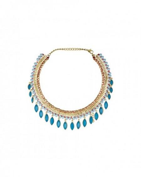 Plastron Massaï Peshawar Perles dorées, bleus