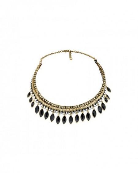 Plastron Massaï Lahore Perles dorées, noires