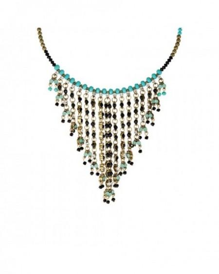 Plastron Massaï Rahim Perles noires, bleus, strass