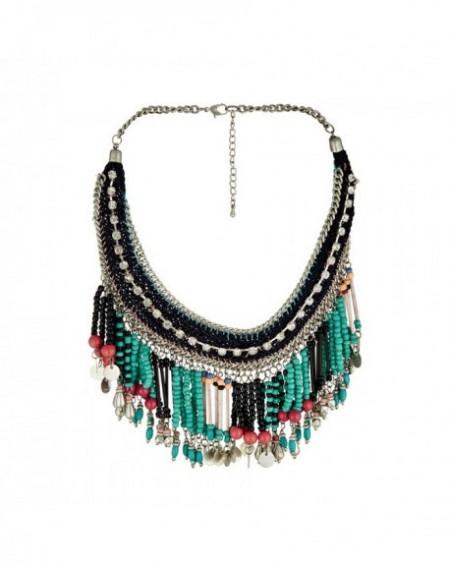 Plastron Massaï Kahor Perles turquoises, noires, rouges, strass