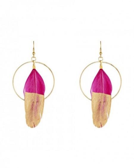 Boucles d'oreilles Massaï Plum'Or Plume fushia et dorée