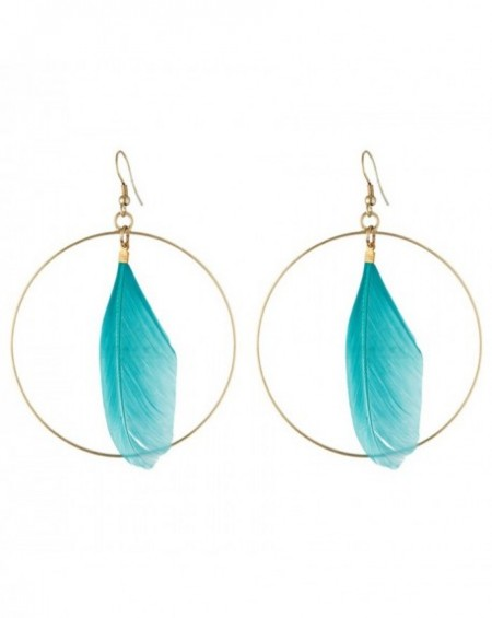 Boucles d'oreilles Massaï Plum'Or Plumes bleus