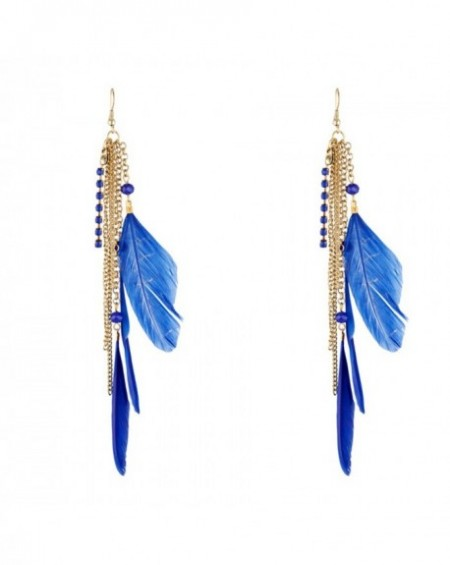 Boucles d'oreilles Massaï Cascade Plumes bleus