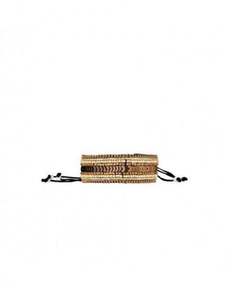 Mini manchette Massaï Colombo Perles cuivres, beiges, marrons