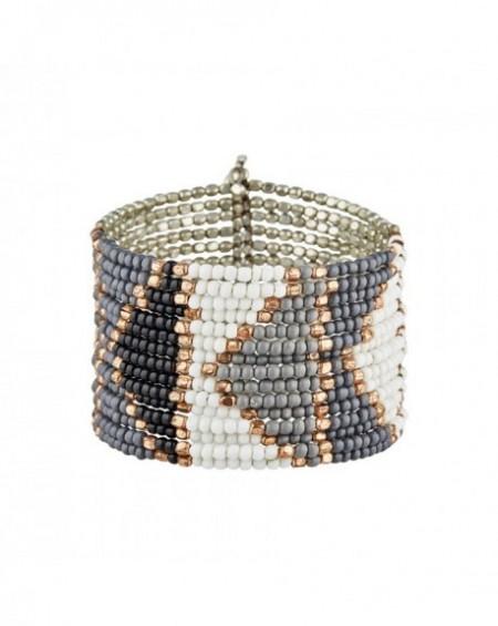 Manchette Massaï Tangalle Perles grises, noires, blanches