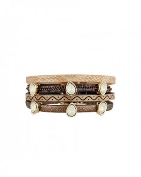 Manchette Massaï Zula Multirang beige, Marron, perles blanches