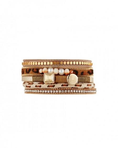 Manchette Massaï Ayana Multirang marron, beige, perle de culture, motif léorpard, strass