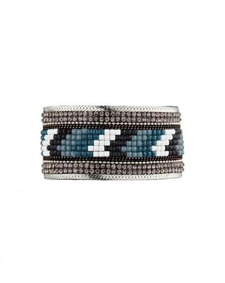 Manchette Massaï Aailyah Multirang strass gris, bleus, blanc, noirs
